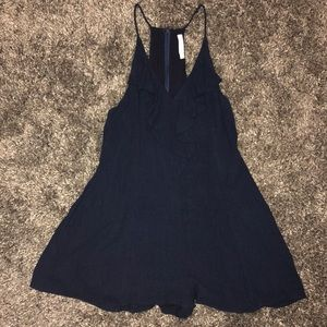 Navy blue romper with pockets